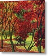 Autum Red Woodlands Painting Metal Print