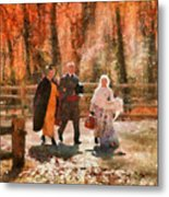 Autumn - People - A Walk In The Countryside Metal Print