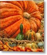 Autumn - Pumpkin - Great Gourds Metal Print by Mike Savad