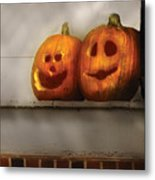 Autumn - Pumpkins - Two Goofy Pumpkins Metal Print