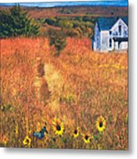 Autumn Abandoned House In The Prairie Metal Print