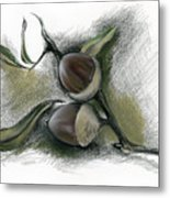 Autumn Acorns On An Oak Twig Metal Print