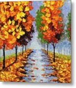 Autumn Alley Metal Print