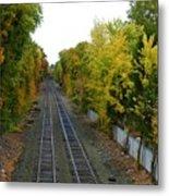 Autumn Along The Tracks Metal Print