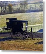 Autumn Amish Horse Buggy Metal Print