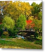 Autumn At Lafayette Park Bridge Landscape Metal Print