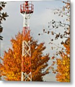Autumn At The Airport Light Tower Metal Print