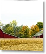 Autumn Barns Metal Print