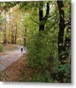 Autumn Bicycling Vertical One Metal Print