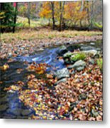 Autumn Birch River Metal Print