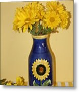 Autumn Blossoms And Blue Vase Metal Print