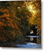 Autumn Country Bridge Metal Print