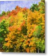 Autumn Country On A Hillside II - Digital Paint Metal Print