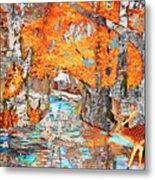 Autumn Deer Birch Background Metal Print