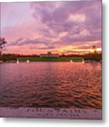 Autumn Evening At Forest Parks Grand Basin Metal Print