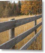 Autumn Fence Metal Print