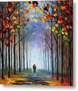 Autumn Fog 4 - Palette Knife Oil Painting On Canvas By Leonid Afremov Metal Print