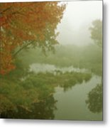 Autumn Fog Millers River Metal Print