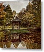 Autumn Gazebo Reflection Metal Print