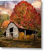 Autumn Hay Barn Metal Print