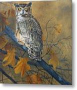 Autumn Highlights - Great Horned Owl Metal Print