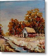Autumn House By The Stream Metal Print