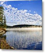 Autumn Lake Shore With Fog Metal Print by Elena Elisseeva