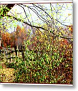 Autumn Leaves Against A Fence Metal Print