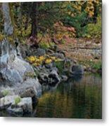 Autumn Leaves And Merced River, Mariposa County, California Metal Print