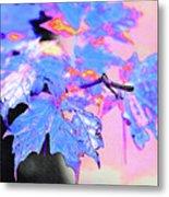Autumn Leaves In Blue Metal Print