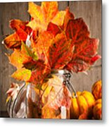 Autumn Leaves Still Life Metal Print by Amanda Elwell