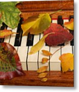 Autumn Leaves Tickle The Ivories Metal Print