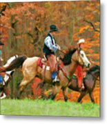 Autumn On Horseback Metal Print