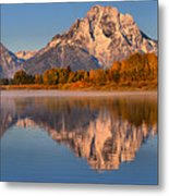 Autumn Oxbow Bend Reflections Metal Print