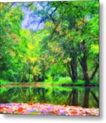 Autumn Pond In Gladwyne Metal Print by Bill Cannon