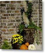 Autumn Porch Scene Metal Print