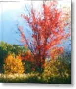 Autumn Red And Yellow Metal Print by Smilin Eyes  Treasures