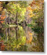 Autumn Reflection On Florida River Metal Print by Carol Groenen