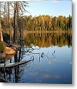 Autumn Reflections On Little Bass Lake Metal Print