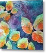 Autumn Rose Leaves Metal Print