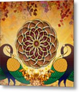 Autumn Serenade - Mandala Of The Two Peacocks Metal Print by Bedros Awak
