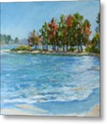 Autumn Shores - Jordan Lake Metal Print