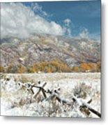 Autumn Snowfall In Aspen Metal Print