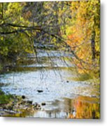 Autumn Stream Reflections Metal Print