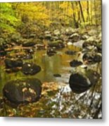 Autumn Stream Reflections Metal Print