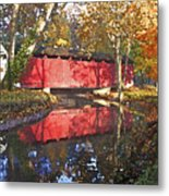 Autumn Sunrise Bridge Metal Print