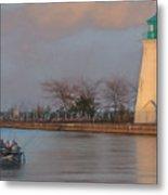 Autumn Sunset Fishing  Metal Print