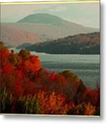 Autumn Trees Near A River H A With Decorative Ornate Printed Frame. Metal Print