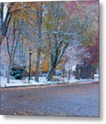 Autumn Winter Street Light Color Metal Print