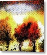 Autumn With Cat Focus Metal Print